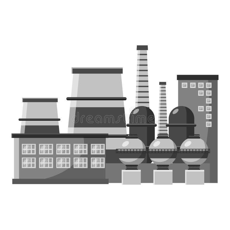 Grande ícone da planta de produção, estilo monocromático cinzento ilustração stock