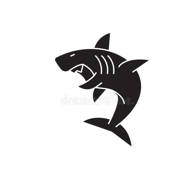 Grande ícone do conceito do vetor do preto do tubarão branco Grande ilustração lisa do tubarão branco, sinal ilustração stock