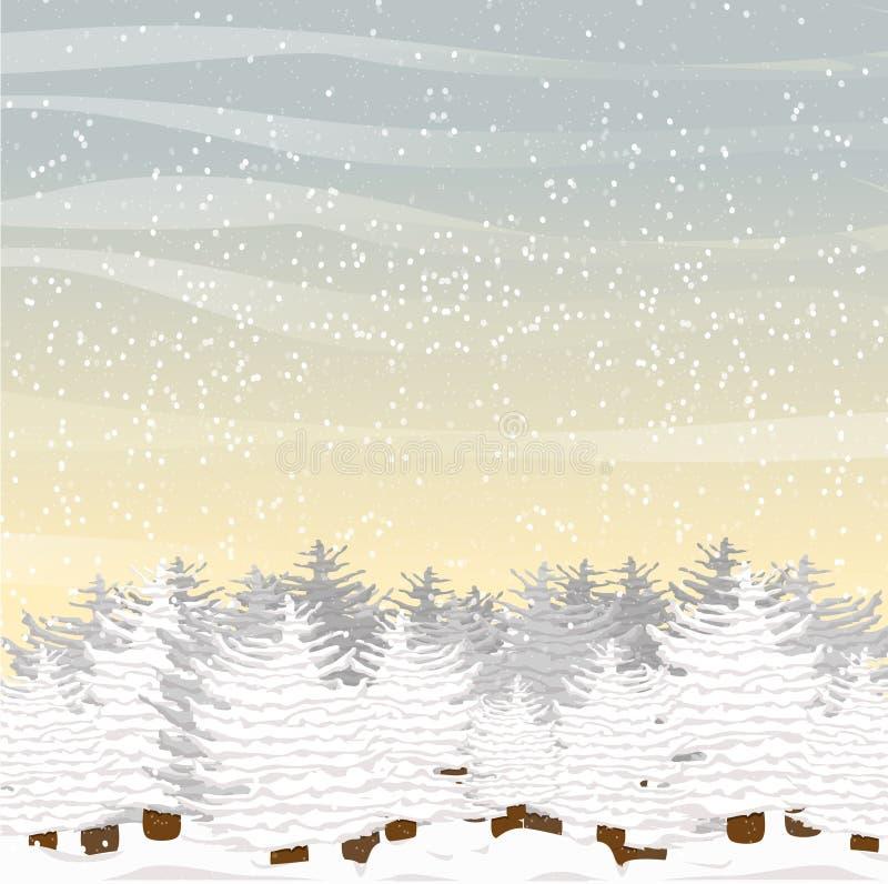 Grande abete rosso simile a pelliccia, coperto di neve in una radura Mattina o giorno di inverno Paesaggio di vettore illustrazione di stock