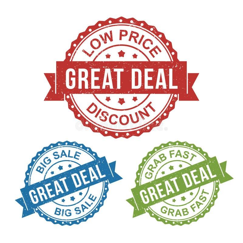 Grande affaire, petit prix, grande vente, étiquette de timbre de label d'insigne de vecteur pour le produit, lançant sur le march illustration stock