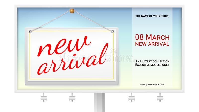 Grande affiche de nouveau venu avec la conception des textes pour votre boutique Panneau d'affichage avec l'étiquette accrochante illustration libre de droits