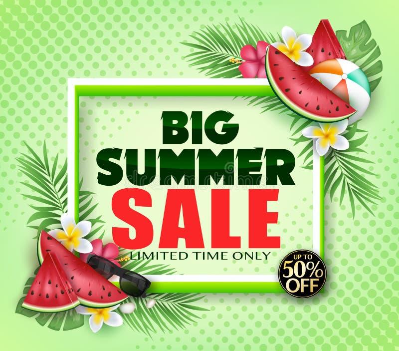 Grande affiche de publicité de temps limité de vente d'été seulement avec la pastèque, ballon de plage, fleurs illustration libre de droits