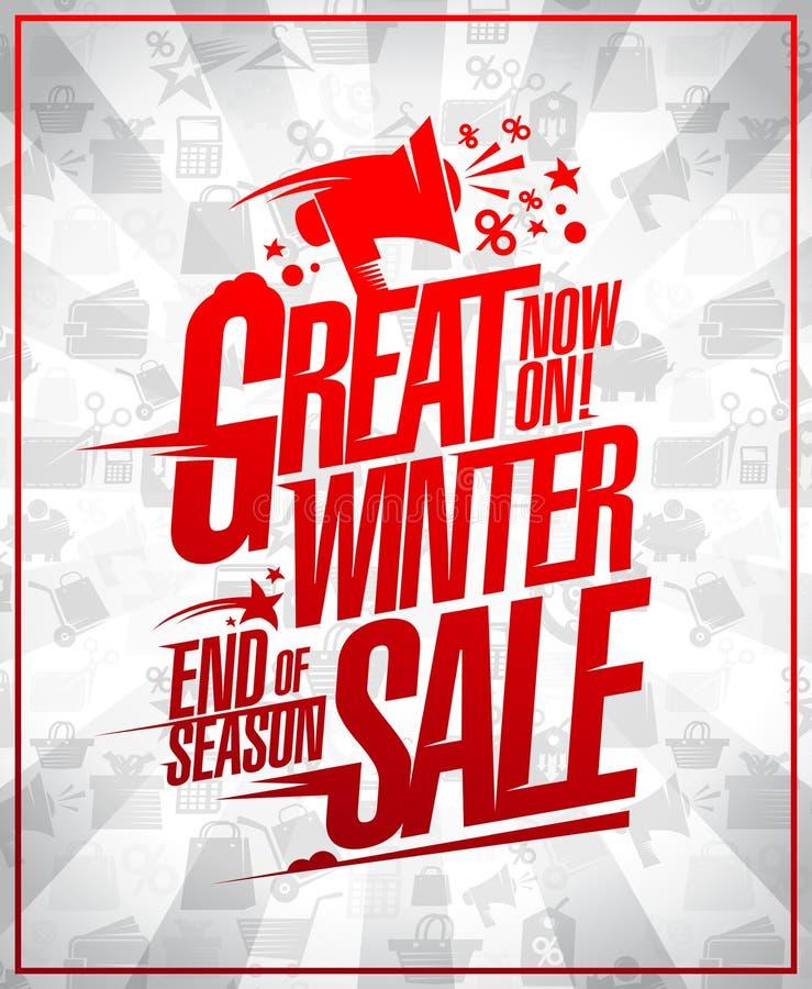 Grande affiche de vente d'hiver, fin du dégagement de saison illustration de vecteur