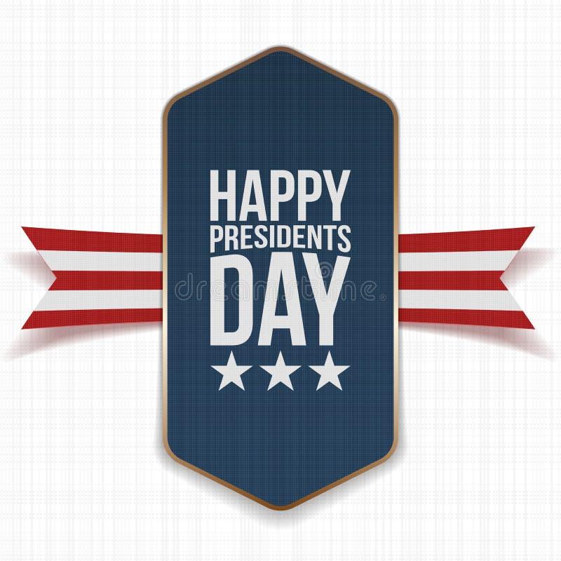 Grande affiche heureuse des Présidents Day avec le ruban illustration stock