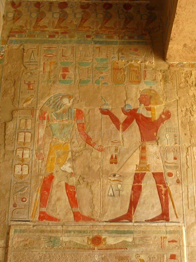 Grande affresco al tempiale della regina Hatshepsut, Luxor fotografia stock libera da diritti