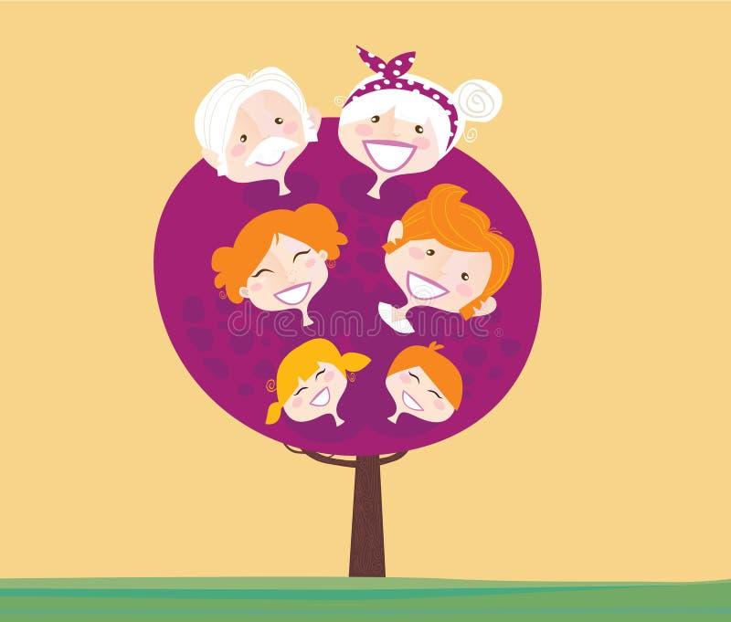 Grande albero della generazione della famiglia illustrazione di stock