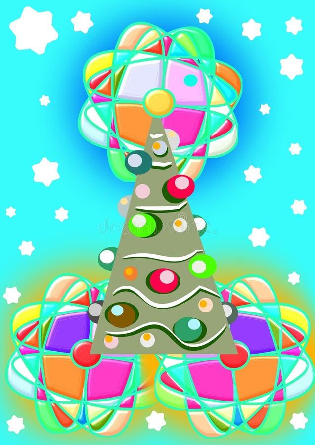 Grande albero di Natale con la stella enorme royalty illustrazione gratis