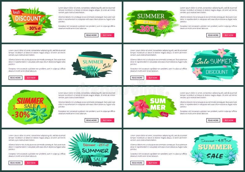 Grande aletta di filatoio di vendita di estate del pacco messa con i pulsanti royalty illustrazione gratis