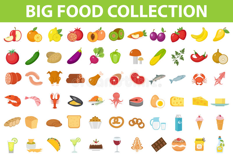 Grande alimento delle icone dell'insieme, stile piano Frutti, verdure, carne, pesce, pane, latte, dolci Icona del pasto su bianco royalty illustrazione gratis