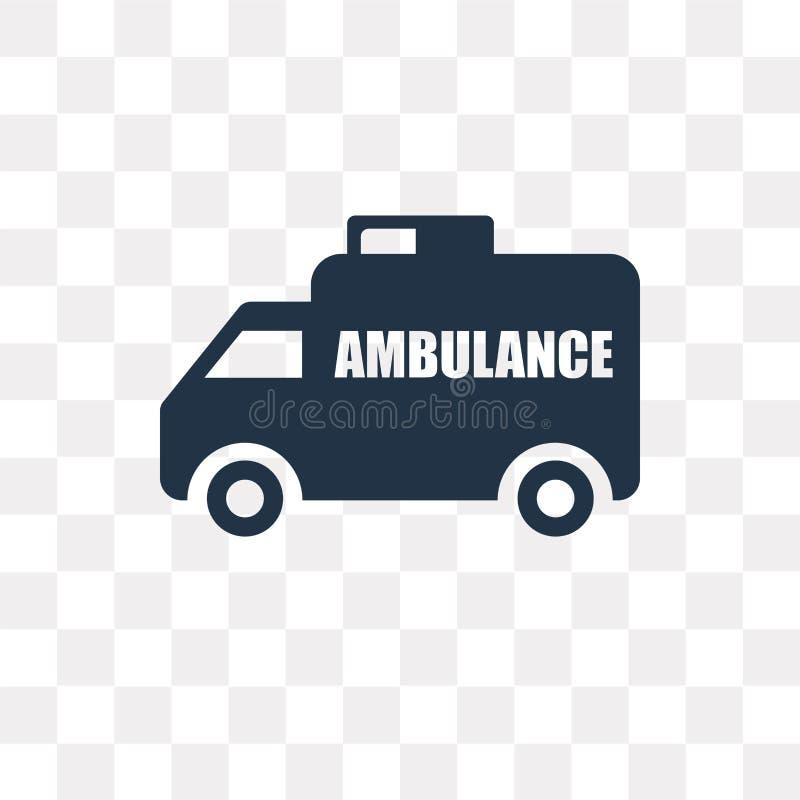 Grande ambulance faisant face à l'icône gauche de vecteur d'isolement sur le Ba transparent illustration stock