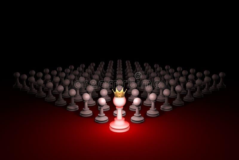 Grande ameaça Exército forte & x28; metaphor& x29 da xadrez; illustr da rendição 3D ilustração do vetor