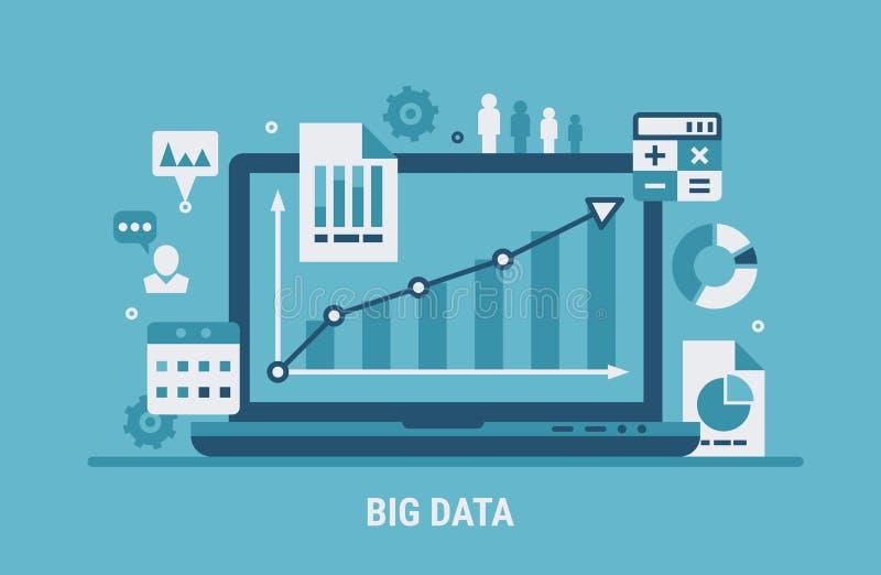 Grande analyse de données illustration stock