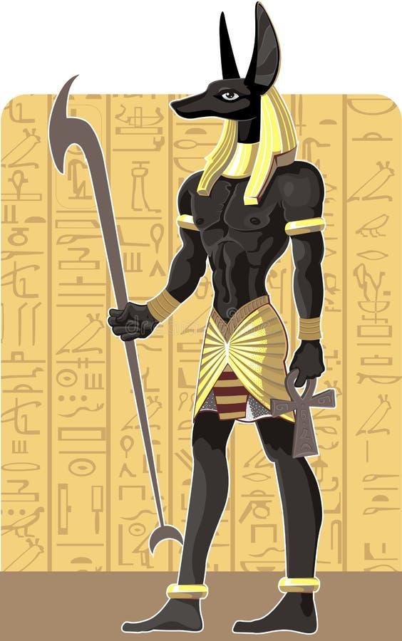 Grande Anubis scuro vigoroso sulla priorità bassa dell'Egitto royalty illustrazione gratis