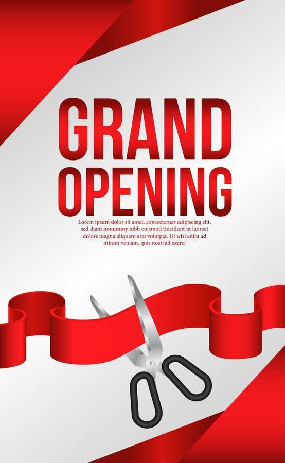 Grande apertura che taglia celebrazione di lusso del partito del nastro rosso illustrazione vettoriale