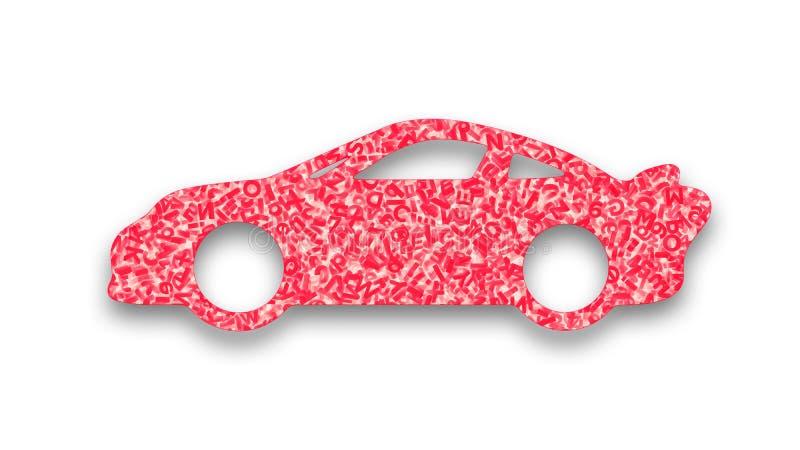 Grande applicazione di dati nel concetto auto-movente dell'automobile illustrazione 3D illustrazione vettoriale
