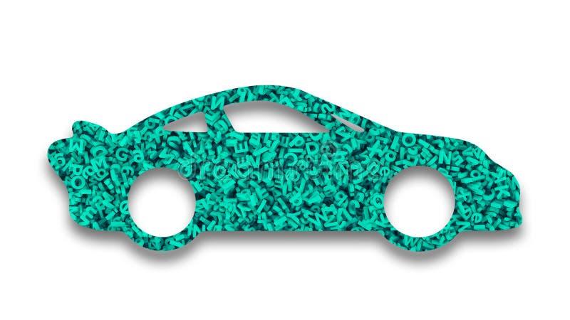 Grande applicazione di dati nel concetto auto-movente dell'automobile illustrazione 3D illustrazione di stock