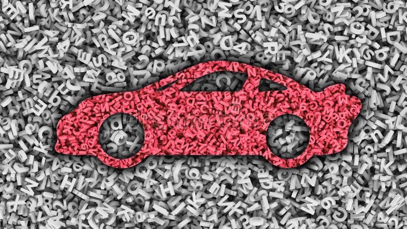 Grande applicazione di dati nel concetto auto-movente dell'automobile illustrazione 3D royalty illustrazione gratis