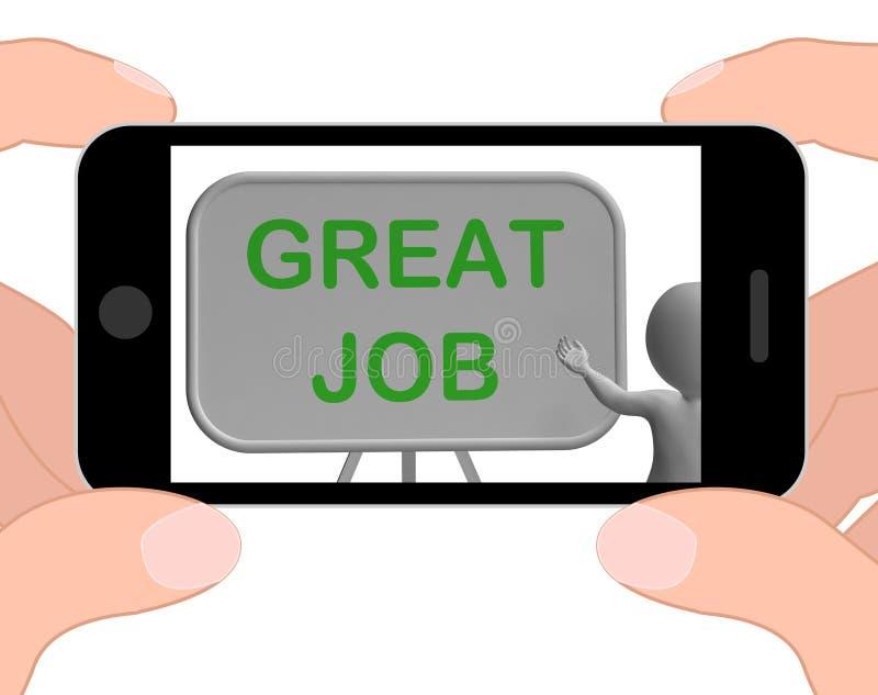 Grande aprovação de Job Phone Means Affirmation And ilustração royalty free