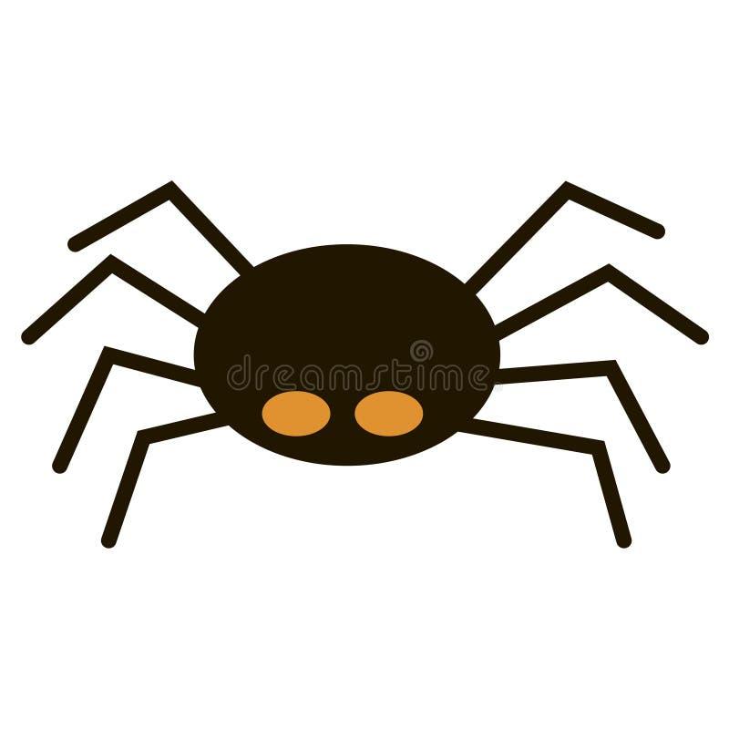 Grande araignée noire effrayante d'isolement sur l'isect blanc et toxique illustration libre de droits