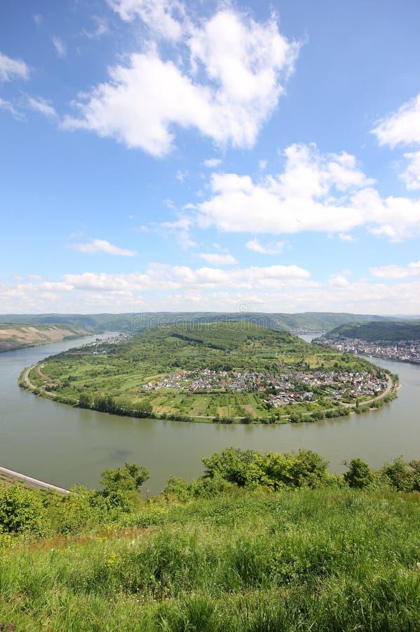 Grande arco della valle del Reno vicino a Boppard, Germania. immagini stock