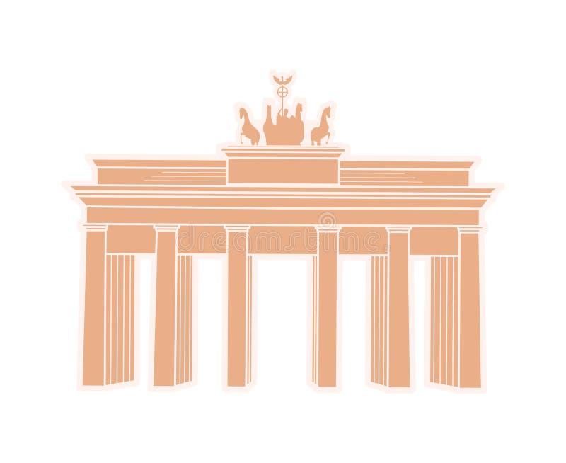 Grande arco triunfal da etiqueta do curso de Alemanha ilustração do vetor