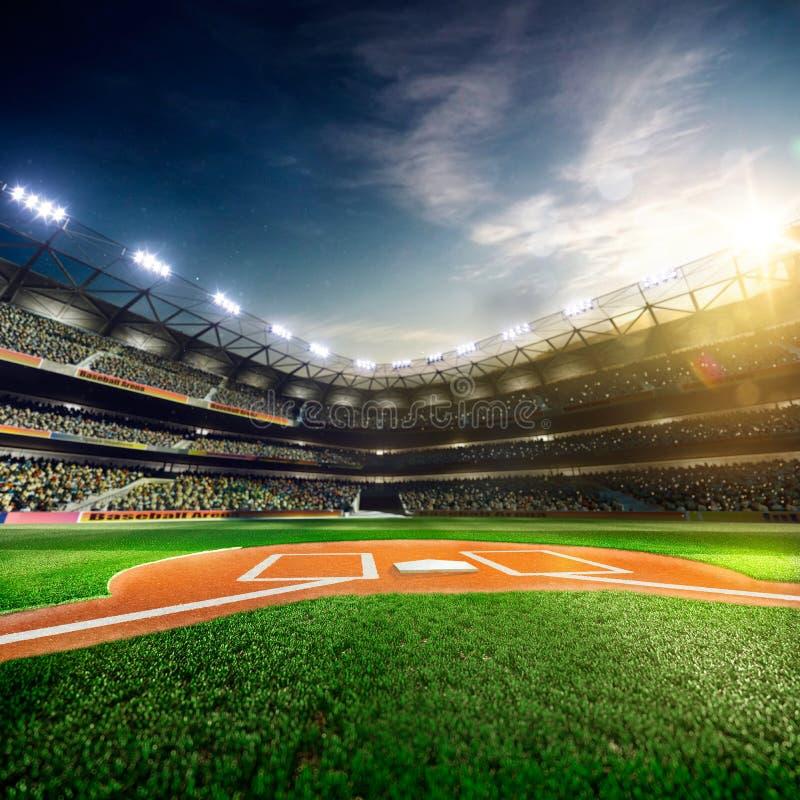 Grande arena di baseball professionale al sole fotografia stock libera da diritti