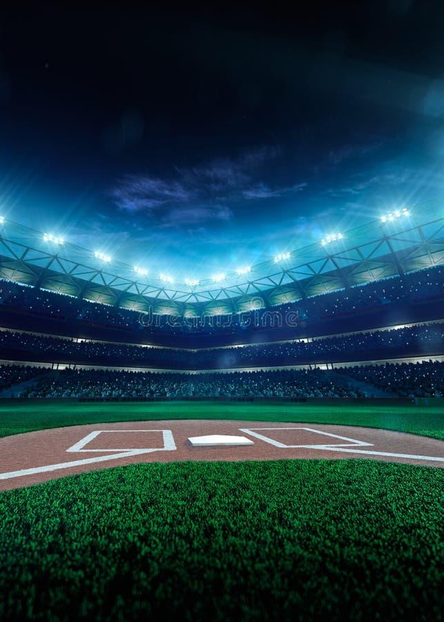 Grande arena di baseball professionale nella notte fotografie stock libere da diritti