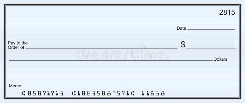 Grande assegno in bianco - priorità bassa della banda blu illustrazione di stock