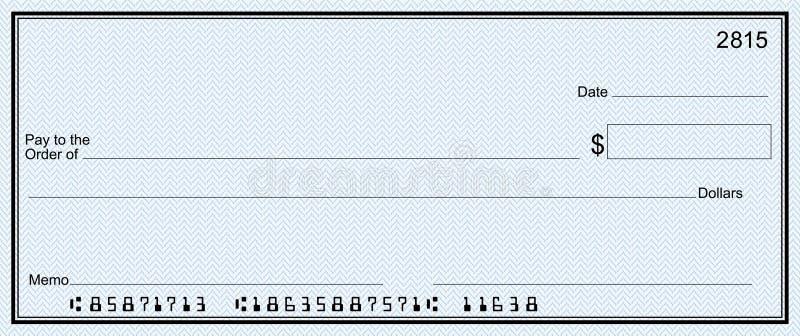 Grande assegno di banca con i numeri falsi royalty illustrazione gratis