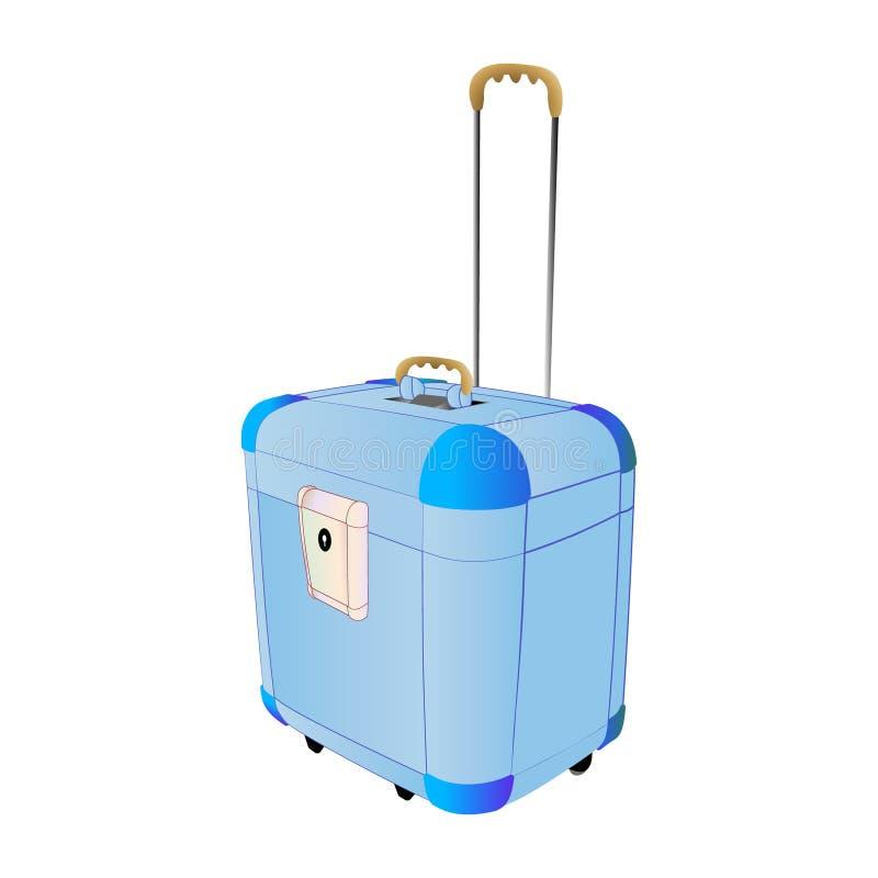Grande azul de la maleta plástica del viaje con las ruedas Ejemplo creativo del vector de aislado Gráfico abstracto del concepto  stock de ilustración