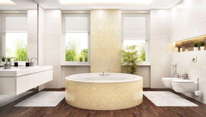 Grande bagno bianco moderno con un bagno rotondo illustrazione di stock