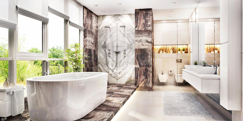 Grande bagno moderno con la grande finestra immagine stock