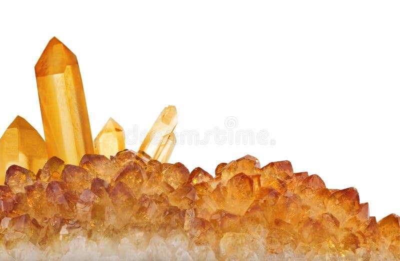 Grande bande citrine orange lumineuse de cristaux d'isolement sur le blanc photographie stock libre de droits