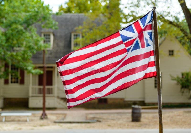 Grande bandiera del sindacato a Williamsburg, VA immagine stock libera da diritti