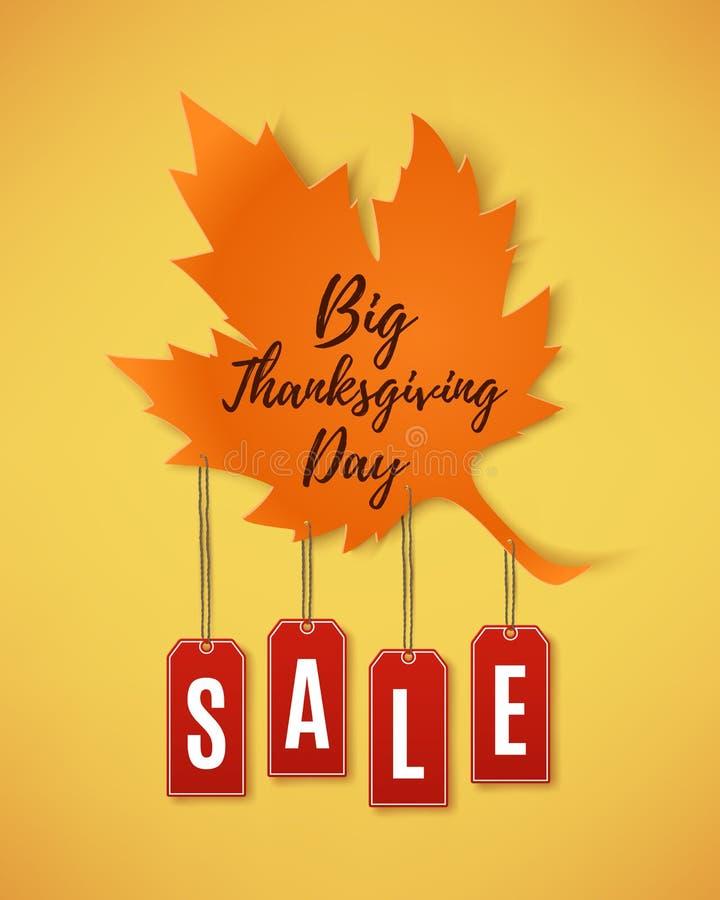 Grande bannière d'abrégé sur vente de jour de thanksgiving illustration stock