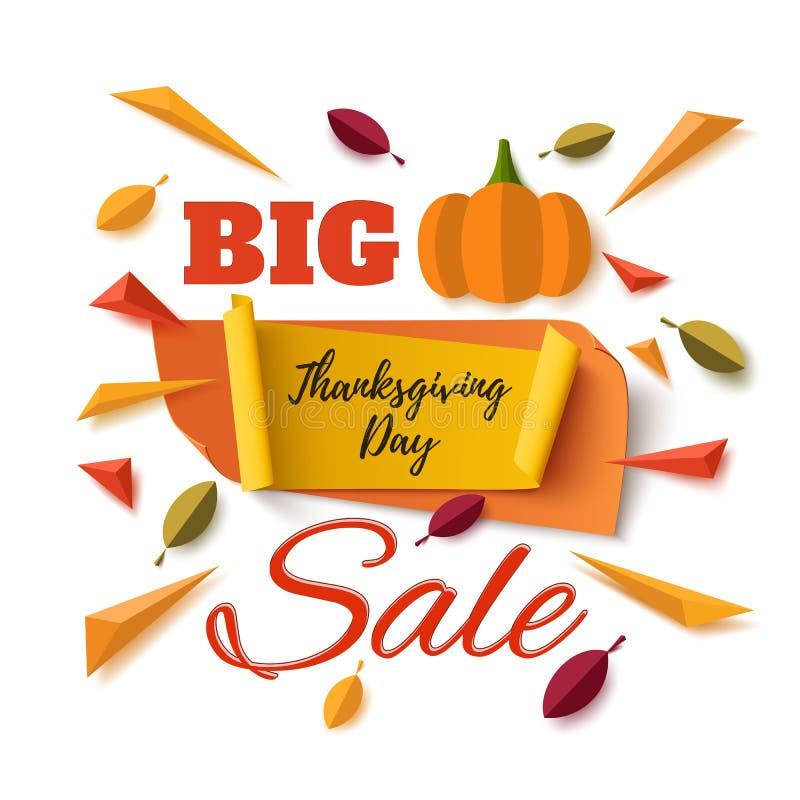 Grande bannière d'abrégé sur vente de jour de thanksgiving illustration de vecteur