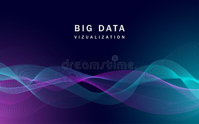 Grande bannière de données de visualisation, style réaliste illustration stock