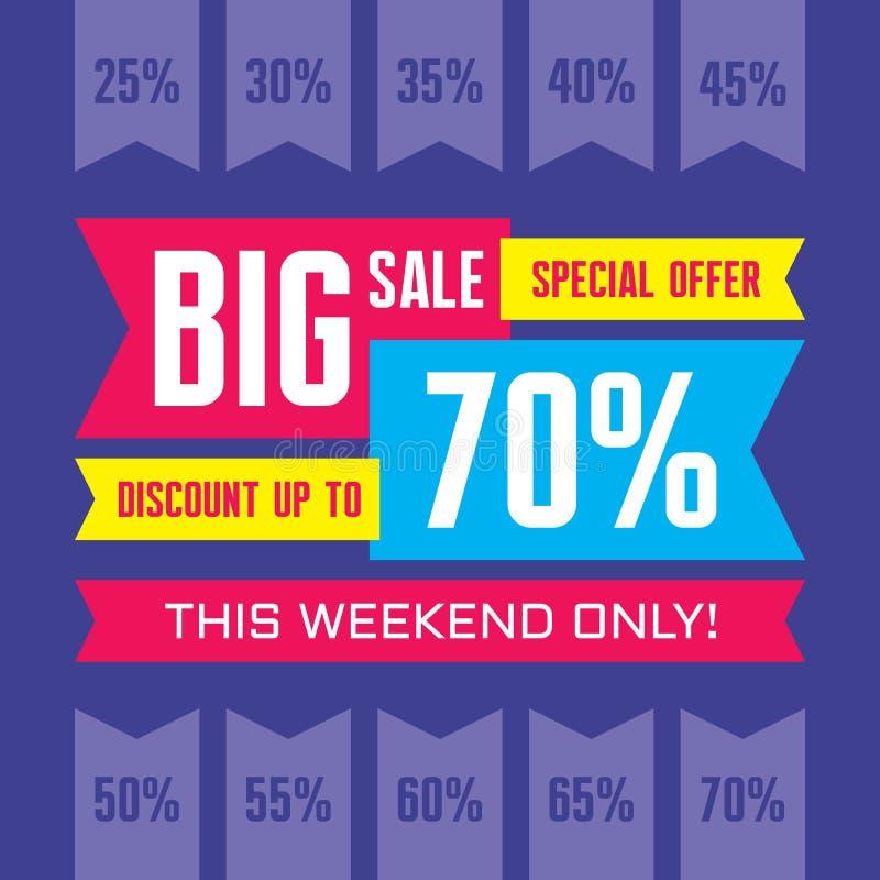 Grande bannière de vecteur d'abrégé sur vente - offre spéciale - escomptez jusqu'à 70% Bannière de vecteur de vente vente abstrai illustration de vecteur