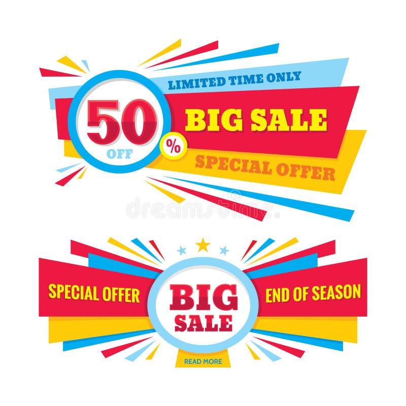 Grande bannière de vecteur de vente - escomptez 50%  Disposition de conception créative d'offre spéciale Temps limité seulement ! illustration de vecteur