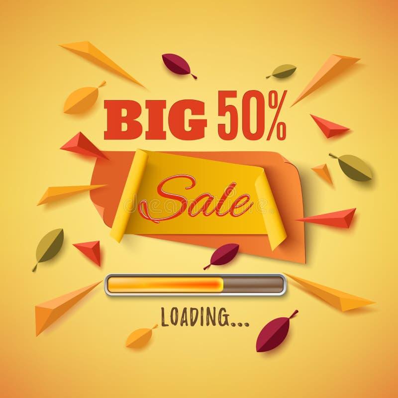 Grande bannière de vente avec les feuilles abstraites illustration stock