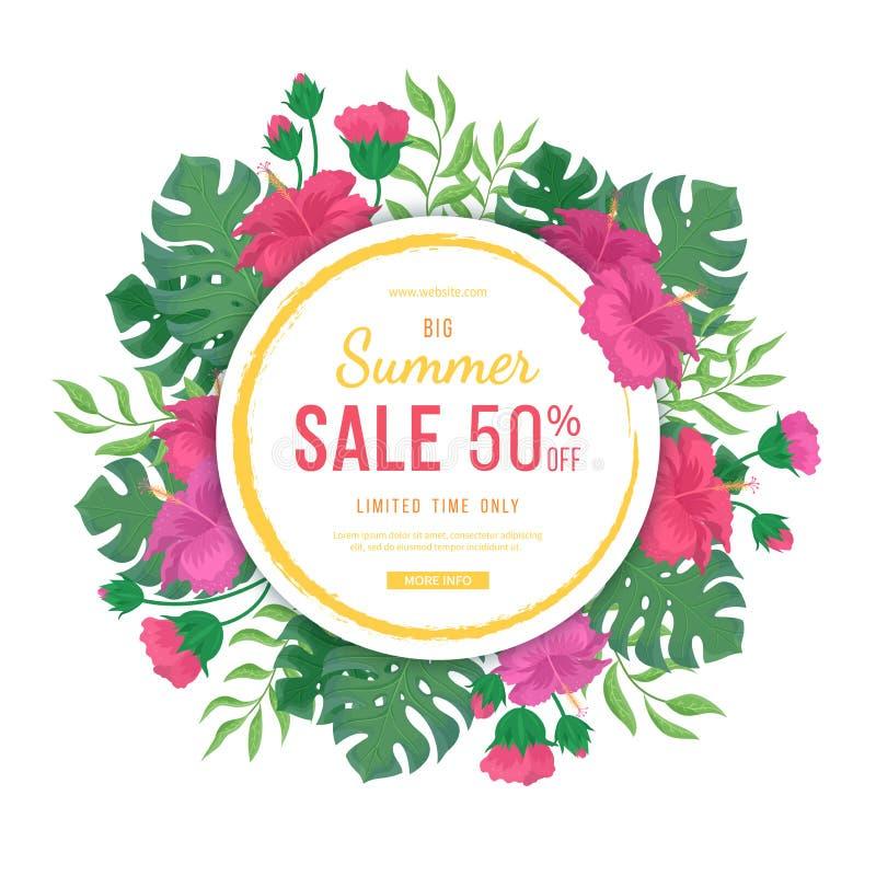 Grande bannière de vente d'été avec le cadre rond Fleurs et bourgeons des ketmies, du monstera de feuilles et de la paume Affiche illustration de vecteur