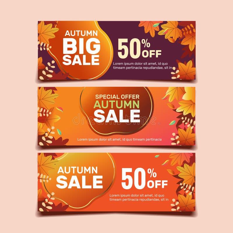 Grande bannière de vente d'automne avec fond de feuilles et anneau d'or. Saison de ventes d'automne images libres de droits