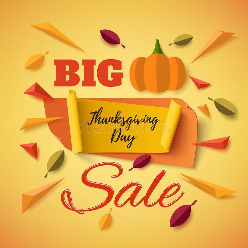 Grande bannière de vente de jour de thanksgiving avec le potiron abstrait illustration libre de droits