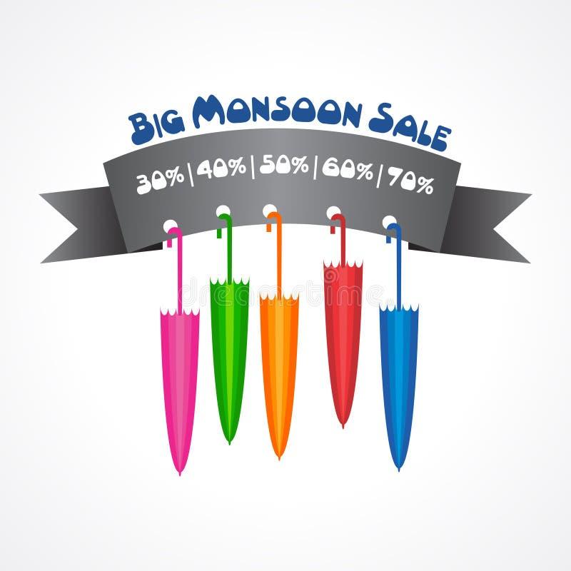 Grande bannière de vente de mousson pour différentes remises illustration libre de droits