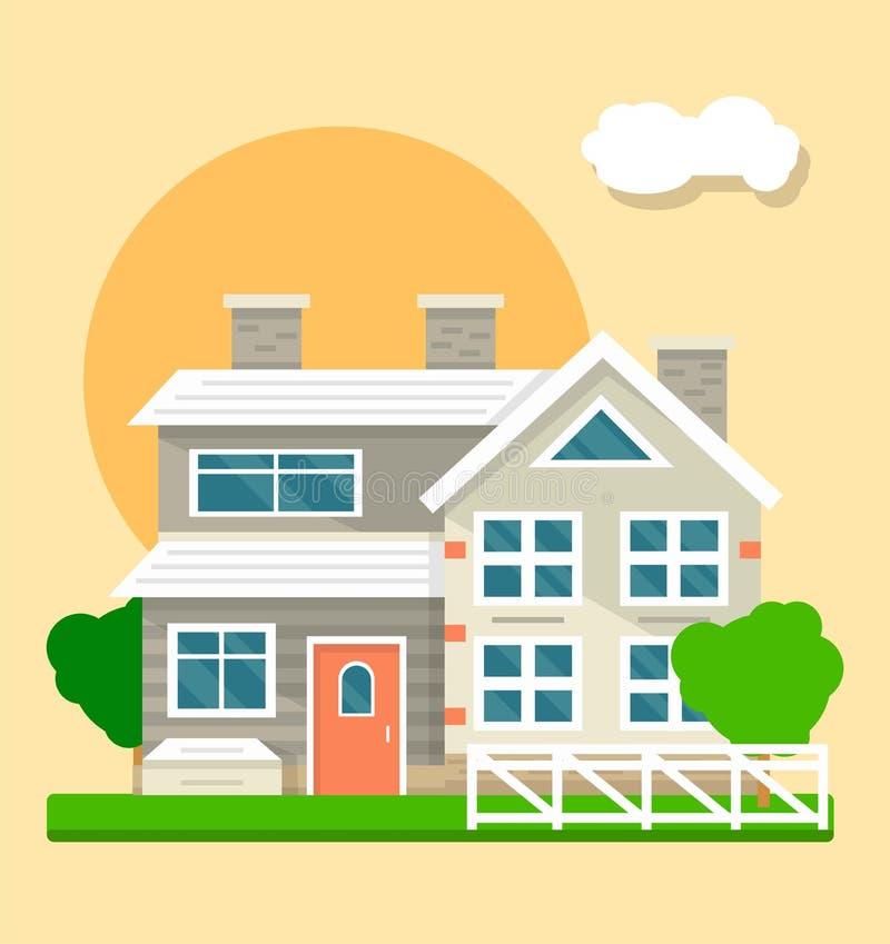 Grande belle maison deux-racontée sur le fond de coucher du soleil ou de lever de soleil illustration stock