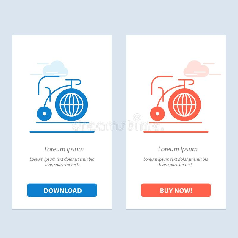 Grande, bici, sogno, blu di ispirazione e download rosso ed ora comprare il modello della carta del widget di web illustrazione di stock