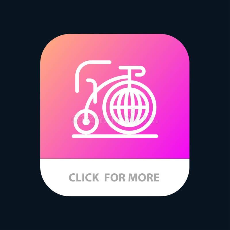 Grande, bici, sogno, bottone mobile del App di ispirazione Android e linea versione dell'IOS illustrazione vettoriale