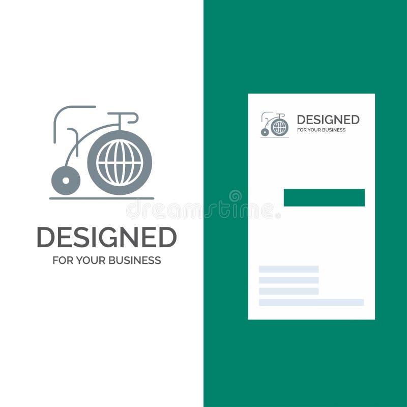 Grande, bici, sogno, ispirazione Grey Logo Design e modello del biglietto da visita illustrazione di stock