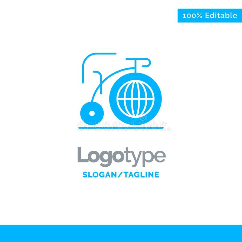 Grande, bici, sogno, ispirazione Logo Template solido blu Posto per il Tagline illustrazione di stock