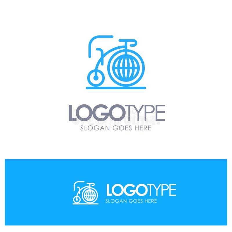 Grande, bici, sogno, logo blu del profilo di ispirazione con il posto per il tagline illustrazione di stock